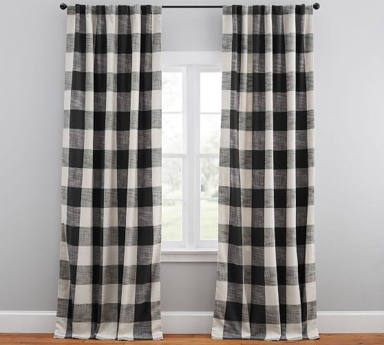 "Bryce Check Curtain, 50 X 108"", Charcoal 