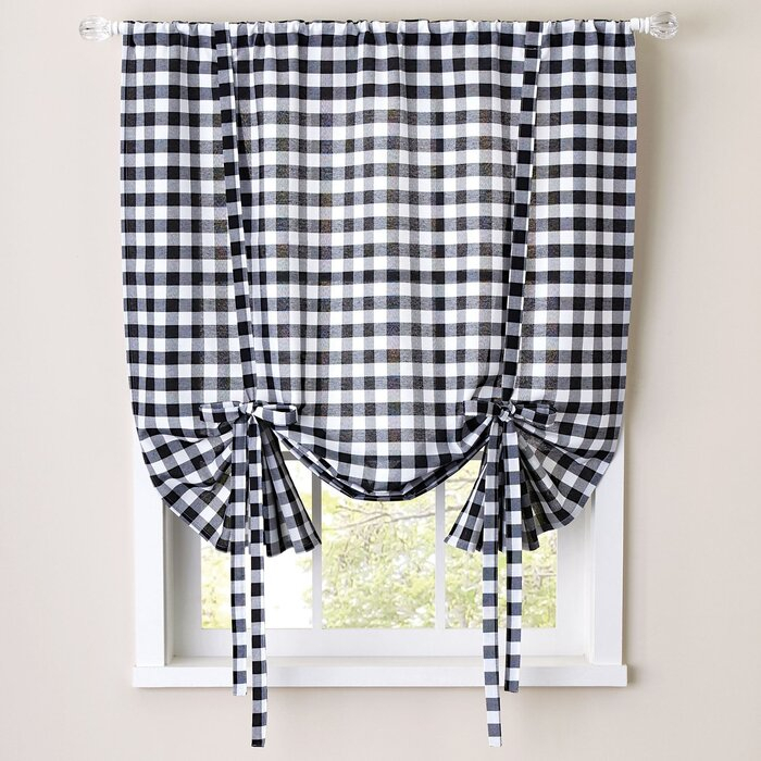 Buffalo Check Decorative Tie Up Shade Within Burgundy Cotton Blend Classic Checkered Decorative Window Curtains (View 3 of 30)