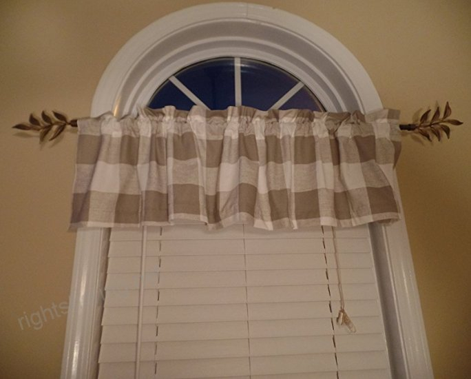 Buffalo Check Farmhouse Window Valance, French Country With Regard To Barnyard Buffalo Check Rooster Window Valances (View 6 of 30)