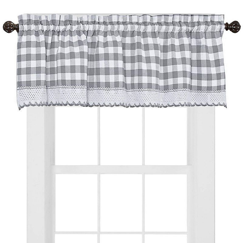 Buffalo Check Gingham Kitchen Curtains Tiers Or Valance Regarding Dove Gray Curtain Tier Pairs (View 6 of 30)