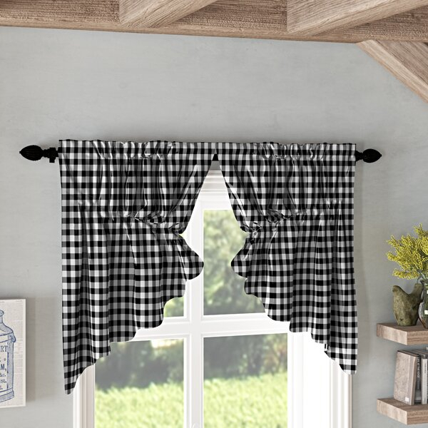 Buffalo Check Kitchen Curtains | Wayfair In Classic Navy Cotton Blend Buffalo Check Kitchen Curtain Sets (View 5 of 30)