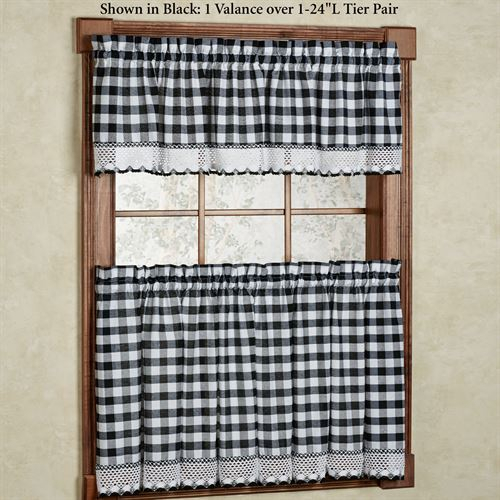 Buffalo Check Tier Window Treatment Pertaining To Classic Navy Cotton Blend Buffalo Check Kitchen Curtain Sets (View 6 of 30)