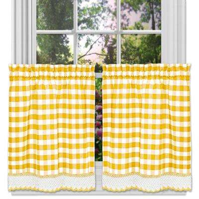 Buffalo Check Yellow Polyester/cotton Rod Pocket Tier Pair With Macrame  Trim – 58 In. W X 24 In (#6 of 50)