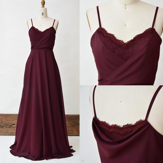 Burgundy Bridesmaid Dress, Lace Long Prom Dress, Spaghetti Strap Chiffon  A Line Bridal Party Dress, Wine Floor Length Maxi Dresses For Women Inside 5 Piece Burgundy Embroidered Cabernet Kitchen Curtain Sets (#13 of 50)