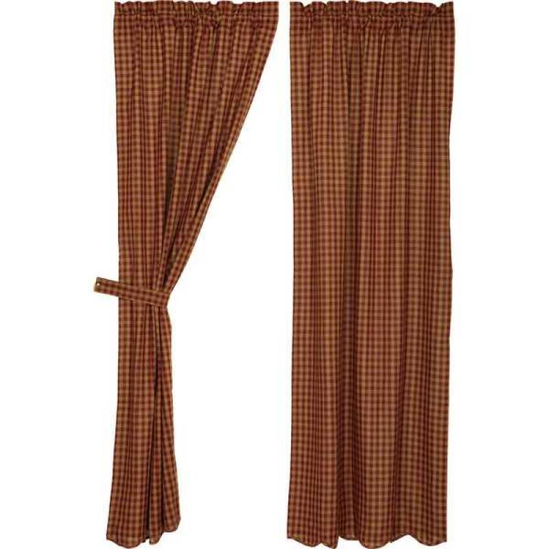 Burgundy Check Scalloped Curtain Panel Set Of 2 84X40 With Check Scalloped Swag Sets (View 4 of 30)