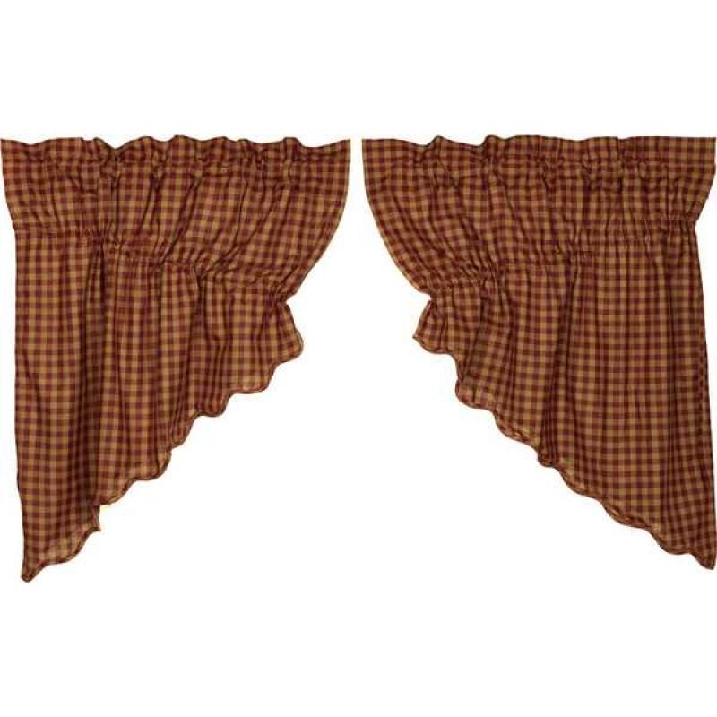 Burgundy Check Scalloped Prairie Swag Set Of 2 36X36X18 Within Check Scalloped Swag Sets (View 7 of 30)