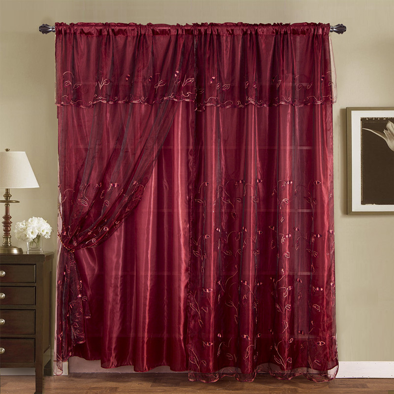 Burgundy Embroidered Romantic Vintage Classic Sheer Window Curtains Drapes Regarding Burgundy Cotton Blend Classic Checkered Decorative Window Curtains (View 6 of 30)