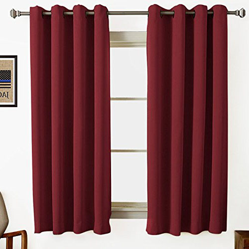 Burgundy Maroon Wine Colored Short Window Curtains Contemporary Style Intended For Burgundy Cotton Blend Classic Checkered Decorative Window Curtains (View 7 of 30)
