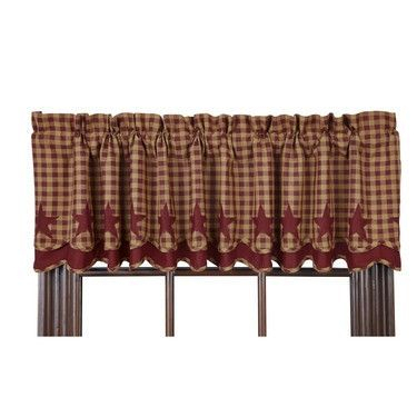 """Burgundy Star Scalloped Layered Lined Valance 72"""" 