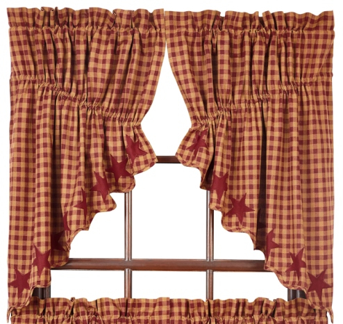 Burgundy Star Scalloped Prairie Swag Set Of 2 36X36X18 Regarding Check Scalloped Swag Sets (View 9 of 30)