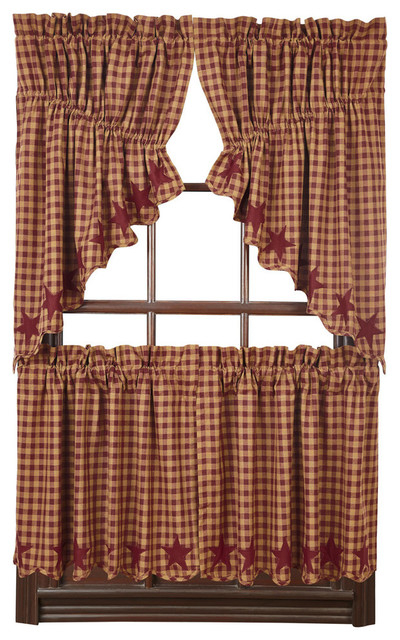 Burgundy Star Scalloped Prairie Swag, Set Of 2 Inside Check Scalloped Swag Sets (View 10 of 30)