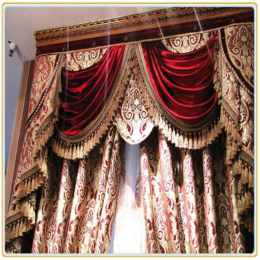 Burgundy Wine Custom Free Shipping Hotel Curtains Classic Royal Quality  Curtain Send Express Baroque Style For Window Wide Inside Burgundy Cotton Blend Classic Checkered Decorative Window Curtains (View 10 of 30)