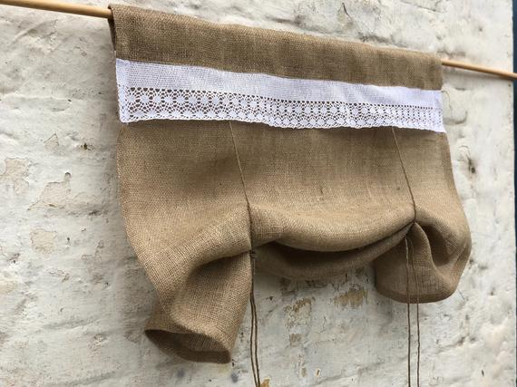 Burlap Curtains Country Kitchen Lace Tie Up Valance Rustic Primitive Window French Country Farmhouse Custom Curtain Living Room Blind With Regard To Rod Pocket Cotton Striped Lace Cotton Burlap Kitchen Curtains (View 10 of 30)
