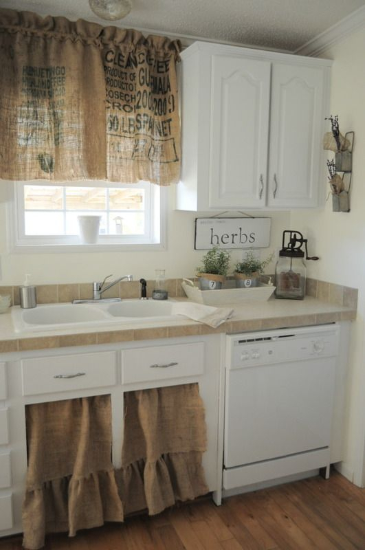 Burlap Kitchen Curtains ~ What A Fab Idea For A Vintage With Regard To Rustic Kitchen Curtains (#3 of 30)