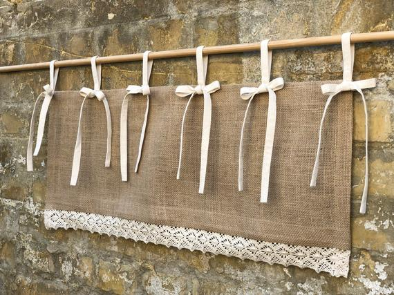Burlap Valance Country Lace Curtains Cottage Primitive Kitchen Curtain  Simple French Chic Country Window Farmhouse Curtain Valances In Primitive Kitchen Curtains (#7 of 30)