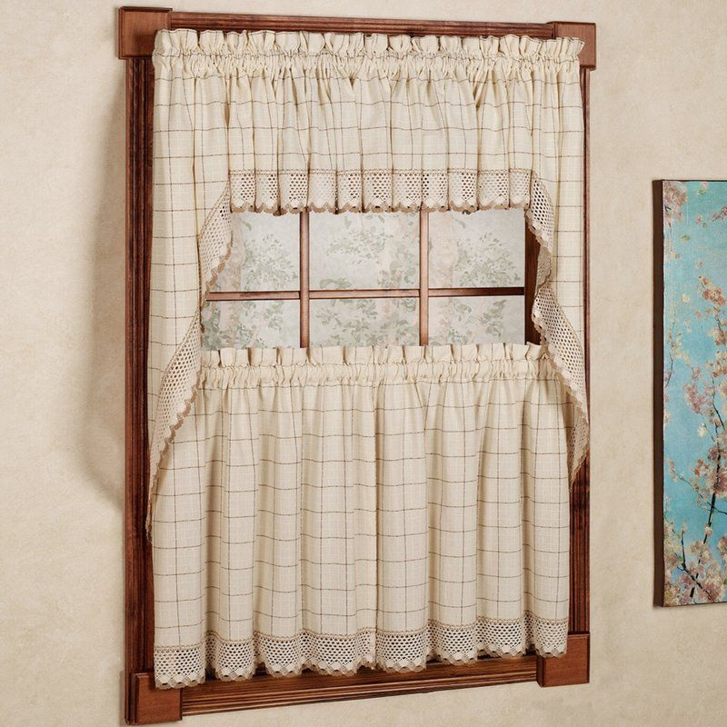 Burrigan Curtain Tier, Valance And Swag Set In 2019 | Room For Fluttering Butterfly White Embroidered Tier, Swag, Or Valance Kitchen Curtains (View 2 of 50)