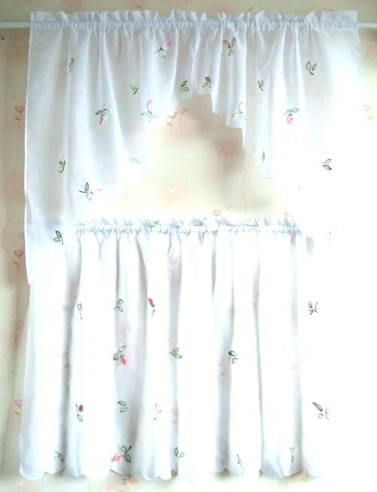 Butterfly Kitchen Curtains Home Roman Cheap Blue Print Inside Fluttering Butterfly White Embroidered Tier, Swag, Or Valance Kitchen Curtains (View 4 of 50)