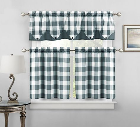 Button Check Faux Silk Kitchen Curtain Drape Tier & Valance Throughout Abby Embroidered 5 Piece Curtain Tier And Swag Sets (View 5 of 30)