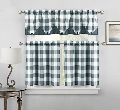 Button Check Faux Silk Kitchen Curtain Drape Tier & Valance Throughout Faux Silk 3 Piece Kitchen Curtain Sets (View 10 of 44)