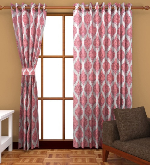 Buy Bsb Trendz Printed Dark Peach Damask Polyester Door Throughout Pastel Damask Printed Room Darkening Kitchen Tiers (#8 of 50)