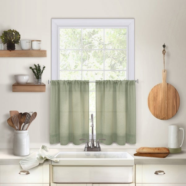 Buy Green Curtain Tiers Online At Overstock | Our Best Within Dexter 24 Inch Tier Pairs In Green (View 1 of 30)