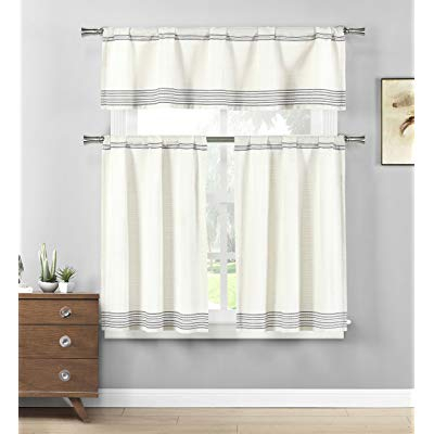 Buy Home Maison – Wilmont Striped Cotton Blend Textured For Cotton Blend Grey Kitchen Curtain Tiers (View 5 of 47)