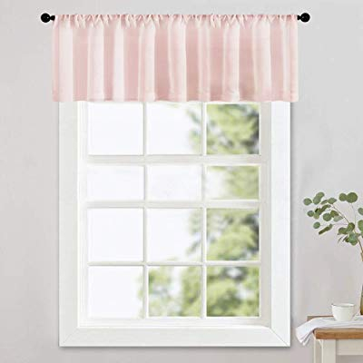 Buy Mrtrees Pink Sheer Valances 16 Inches Long Living Room With Floral Watercolor Semi Sheer Rod Pocket Kitchen Curtain Valance And Tiers Sets (View 4 of 50)