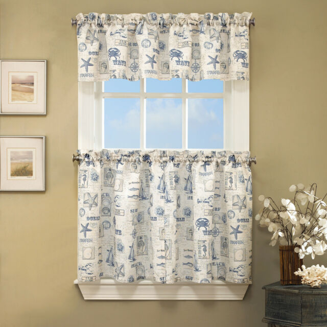 """By The Sea Printed Ocean Beach Kitchen Curtains 36"""" Tier & Valance Set Regarding Multicolored Printed Curtain Tier And Swag Sets (View 9 of 30)"""