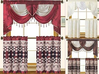 Cabernet Burgundy Kitchen Curtain With Swag And Tier Set 36 For 5 Piece Burgundy Embroidered Cabernet Kitchen Curtain Sets (#14 of 50)