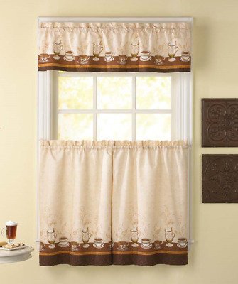 Cafe Au Lait 36L Tier And Valance Kitchen Curtain Set Coffee   Ebay Intended For Coffee Embroidered Kitchen Curtain Tier Sets (View 8 of 30)