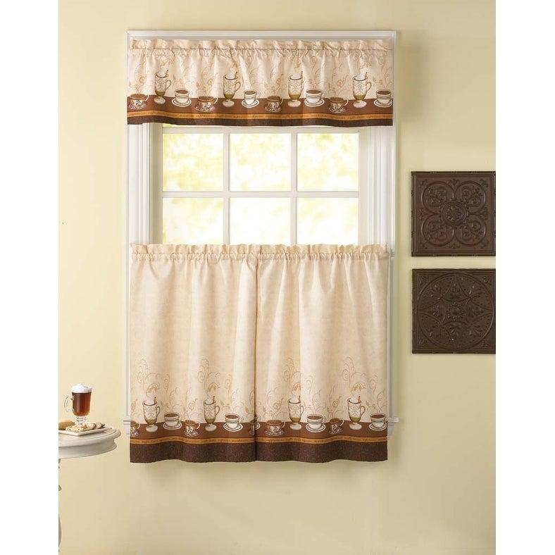 Cafe Au Lait Kitchen Curtain Tier Set – 36 In (View 8 of 45)
