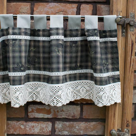 Cafe Curtains. Kitchen Valance. Kitchen Curtains. Country Valance. Rustic  Valance. Window Valance. Country Kitchen Decor. Rustic Kitchen (#4 of 30)