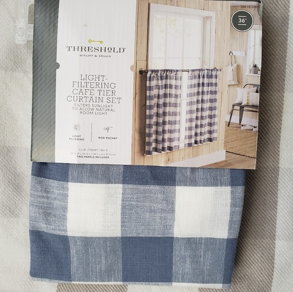 """Cafe Tier Curtains 36""""  Blueberry Check Nwt Throughout Light Filtering Kitchen Tiers (#3 of 50)"""