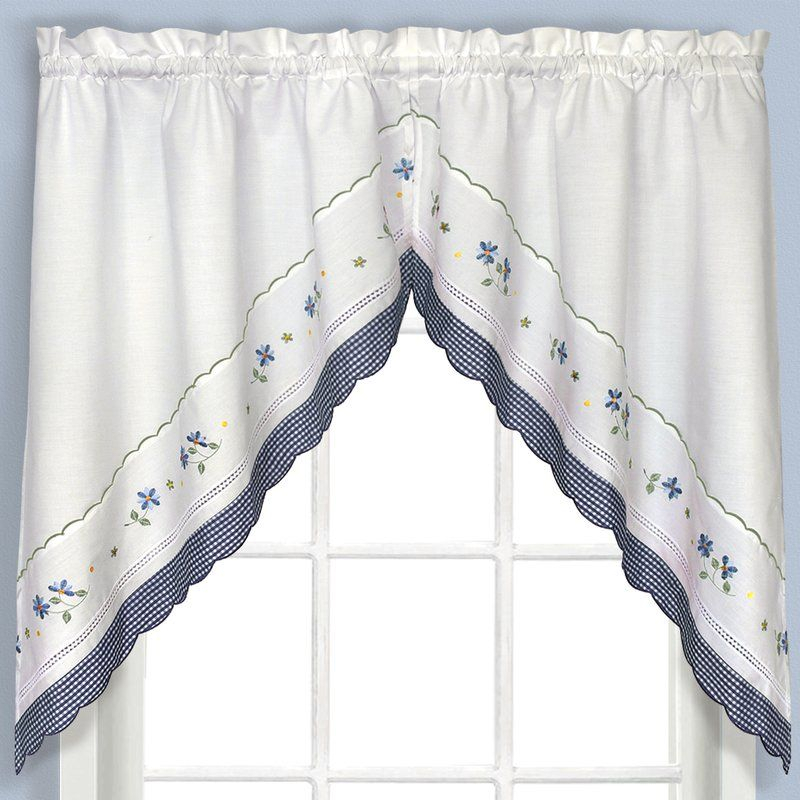 Callington Swag 2 Piece Curtain Valanceaugust Grove In Seabreeze 36 Inch Tier Pairs In Ocean (View 10 of 30)