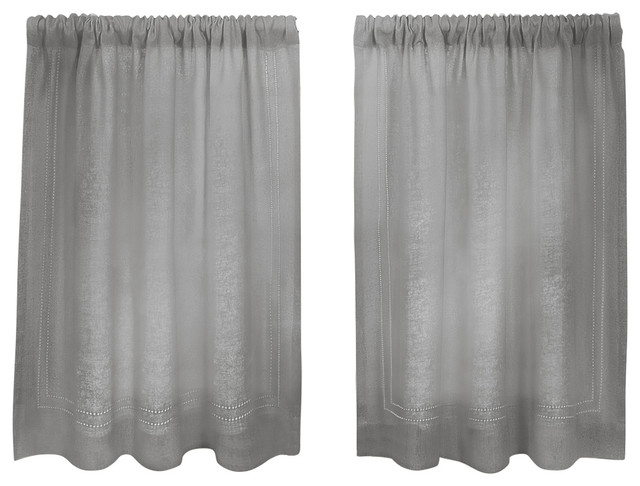 """Cameron Cafe Kitchen Tier Curtain, Gray, 30""""x24"""" Pair Regarding Classic Black And White Curtain Tiers (View 10 of 50)"""