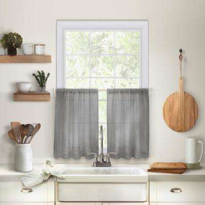 Cameron Kitchen Tier Set Of 2 Pertaining To Cotton Blend Grey Kitchen Curtain Tiers (View 10 of 47)