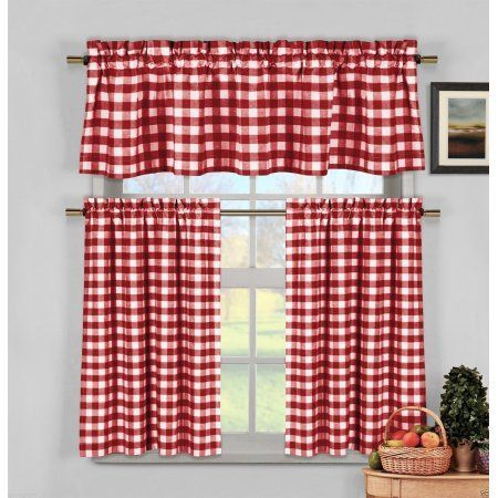 Candy Apple Red Gingham Checkered Plaid Kitchen Tier Curtain Intended For Classic Kitchen Curtain Sets (View 8 of 50)