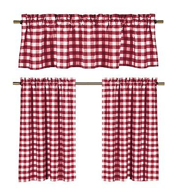 Candy Apple Red & White Country Checkered Plaid Kitchen Tier Curtain  Valance Set 655711324909 | Ebay Pertaining To Chateau Wines Cottage Kitchen Curtain Tier And Valance Sets (View 5 of 30)