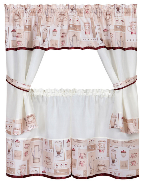 "Cappuccino Embellished Cottage Window Curtain Set 58""x24"" Regarding Chardonnay Tier And Swag Kitchen Curtain Sets (View 10 of 50)"