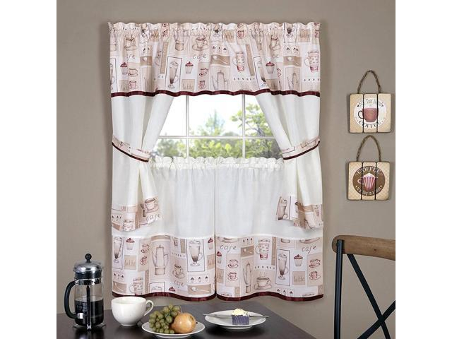 Cappuccino Printed Kitchen Curtain Tiers & Swag Set, 56X36 Inches – Newegg Pertaining To Kitchen Curtain Tiers (View 20 of 50)