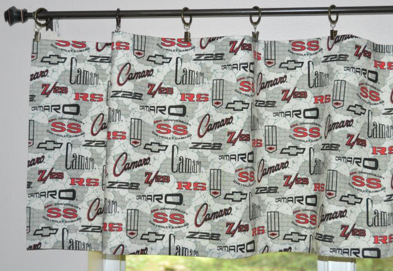 Car Valance Camaro Z 28 Curtains . Retro Camaro Car Curtains . Camaro Ss . Man Cave Car Valance . Boys Curtain (View 14 of 42)