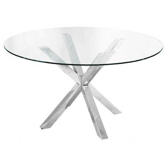 Carlow Round Clear Glass Dining Table Only For 2019 Christie Round Marble Dining Tables (#6 of 20)