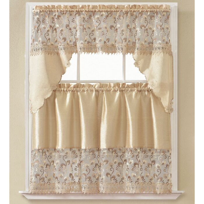 "Carpenter 60"" Kitchen Curtain Inside Abby Embroidered 5 Piece Curtain Tier And Swag Sets (View 6 of 30)"