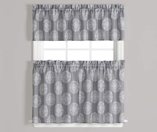 Carthage Gray And White Tier And Valance 3 Piece Set On Within Scroll Leaf 3 Piece Curtain Tier And Valance Sets (View 9 of 50)