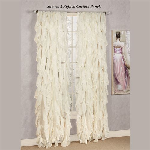 Cascade Sheer Voile Ruffled Window Treatment In Chic Sheer Voile Vertical Ruffled Window Curtain Tiers (View 9 of 50)