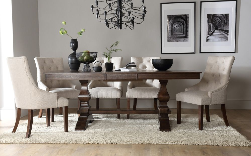 Cavendish Dark Wood Extending Dining Table With Duke Oatmeal Regarding Trendy Gray Wash Lorraine Extending Dining Tables (#4 of 20)