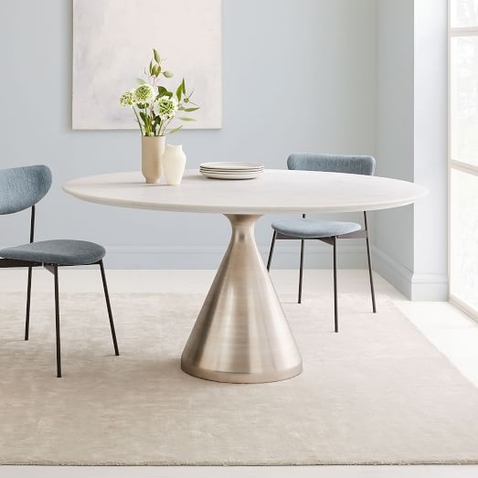 """Chapman Marble Oval Dining Tables In Most Up To Date Silhouette Dining Table, Oval, 60"""" , White Marble, Antique (View 7 of 30)"""