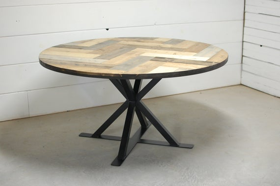 Chapman Marble Oval Dining Tables Inside Best And Newest Industrial Round Wood Dining Table, Herring Bone Round Dining Table, Round Wood Table, Rustic Dining Table, Wood Furniture, Modern Dining (View 28 of 30)