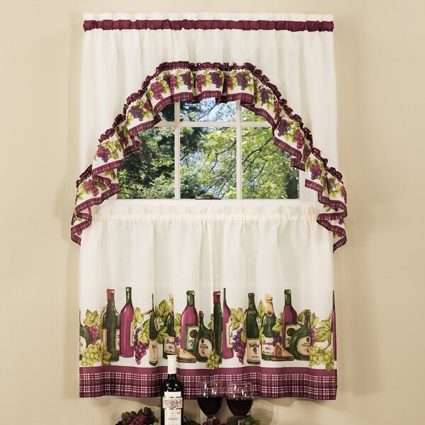 "Chardonnay 57"" Kitchen Curtain For 5 Piece Burgundy Embroidered Cabernet Kitchen Curtain Sets (#15 of 50)"