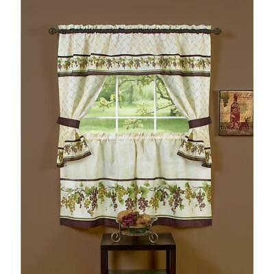 "Chardonnay Complete Tier & Swag Set 36"" L Kitchen Curtain With Regard To Chardonnay Tier And Swag Kitchen Curtain Sets (View 9 of 50)"